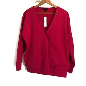 J. Crew Pink Wrap Front Sweater